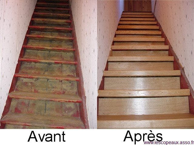 renover escalier bois vernis cheap la rnovation duun escalier avec du bton cir se fait aprs une. Black Bedroom Furniture Sets. Home Design Ideas